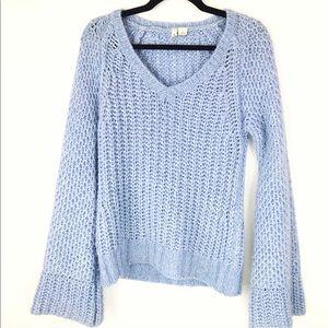 Anthropologie Moth Blue Open Knit V Neck  Sweater